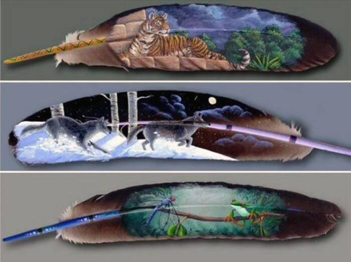 Удивительные рисунки на птичьих перьях