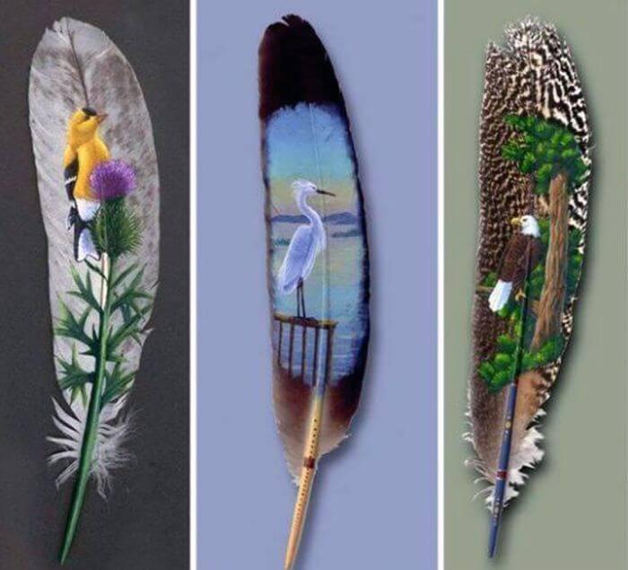 Дивовижні малюнки на пташиних пір'я